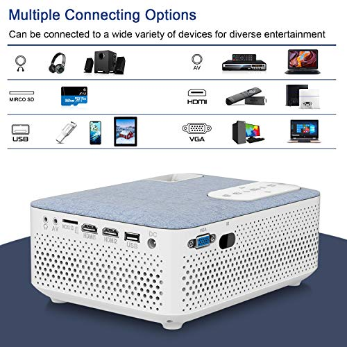 FANGOR Bluetooth Mini Projector 720P Native 4500 lumens, 1080P and 200'' Display Supported, 55000Hrs Compatible with HDMI/USB/SD/VGA/TV Stick/AV/PS4/XBOX for Home Theater