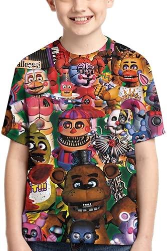 Amacigana Game Five Nights at Freddy's Unisex 3D Print FNAF Crewneck Camiseta de manga corta para niños y niñas, Style1, extra-large