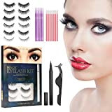 False Eyelashes with Magnetic Eyeliner Kit, 6 Pairs Natural Look False Lashes with Applicator - Easy to Apply and No Glue Needed, 3D Reusable Short and Long Eyelashes Set