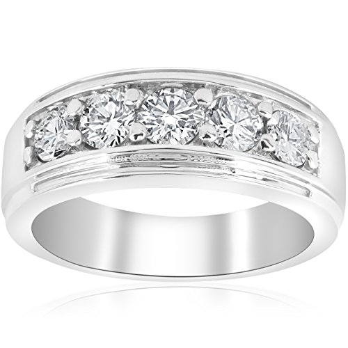 1 ct Mens Diamond Five Stone Wedding Ring 10k White Gold - Size 10.5