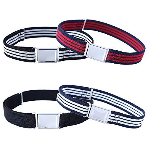 Kajeer 4 Stück Gürtel für Jungen Mädchen Verstellbar - Großer Elastischer Stretchgürtel mit einfacher Magnetschnalle für 2-15 jährige Jungen und Mädchen (3 Streifen/Schwarz)