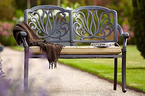 Hartman Amalfi 2-zitsbank, brons, parkeerbank van gegoten aluminium, incl. omkeerbaar kussen, tuinbank, aluminium bank, zitbank van aluminium