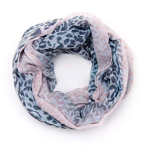 MANUMAR Loop-Schal für Damen | Hals-Tuch in pink weiß mit Leo Print Motiv als perfektes Herbst Winter Accessoire | Schlauchschal | Damen-Schal | Rundschal | Geschenkidee für Frauen und Mädchen