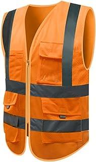 YUFENGBAIHUODIAN Vest sévultueuse Haute visibilité réfléchissant Gilet de Maille Multi-Poche Gilet de sécurité avec des Ra...