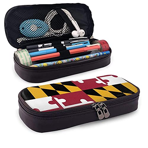 Estuche de piel con bandera de Maryland vintage, gran capacidad, resistente al desgaste, doble cremallera, bolsa de papelería