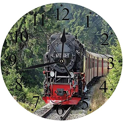 Yaoni lautlosem Uhrwerk - 30 cm Rund Wanduhr,Dampfzug Industriezeit Dampfmaschine Zug Vintage Eisenbahn Lokomotive Eisenbahn,für Wohn- /Schlaf-Kinderzimmer Büro Cafe Restaurant