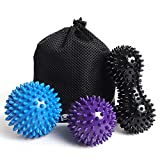 Massage Ball, Roller Spiky Massage Lacrosse Balls for Foot Muscles Plantar Fasciitis Back Shoulder Pain Relief, Trigger Point Yoga Deep Tissue Therapy (Peanut &Spiky Soft/Hard Balls, 3 Pieces)