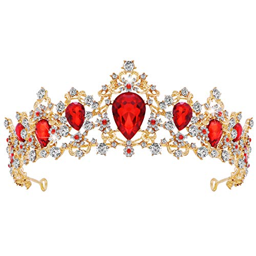 Frcolor Tiara Crown for Women, Rhinestone Queen Crowns Wedding Tiara Crowns Headband (Red)