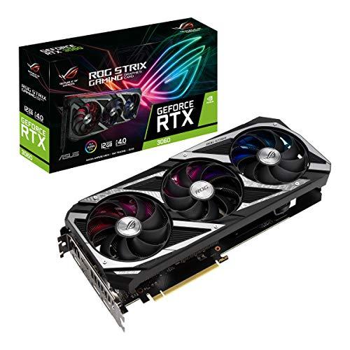 ASUS ROG Strix NVIDIA GeForce RTX 3060 Carte Graphique Gaming (PCIe 4.0, 12GB GDDR6, HDMI 2.1, DisplayPort 1.4a, ventilateurs axiaux, 2.7-slot, Super Alloy Power II, GPU Tweak II)
