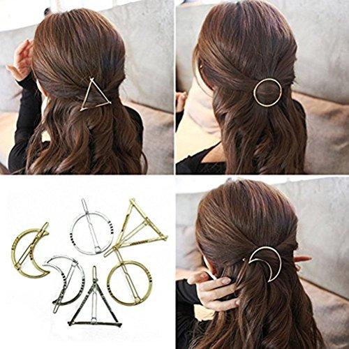 Frcolor - Horquillas para pelo metálicas de color oro, plata y diseño geométrico de círculo, triángulo y luna. Lote de 6 horquillas.