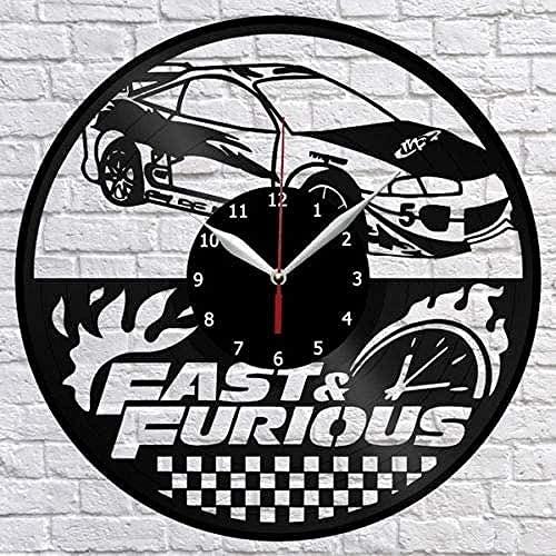 BBZZL Película rápida y apasionada Reloj de Pared con Disco de Vinilo Fan Artista Decoración del hogar Mural Retro Humanidad