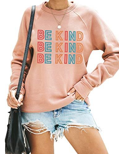 BMJL Damen Graphic Sweatshirts Be Kind Print Jumper Tops Cute Langarm Pullover T Shirts Gr. 42, rose