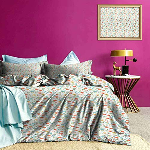 Adorise Quilt Cover Set Lily of Valley and Berry Print Bedding Set No Peculiar Smell, Environmental Friendly Fabric - Twin Size