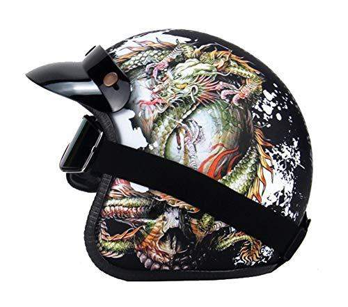 Helmen 3/4 motorfiets elektrische auto, scooter rijden buitenshuis met snelsluiting met veiligheidsbril Lichte Vintage Half Face Volwassenen Mannen & Vrouwen (55-62cm) -LWAJ