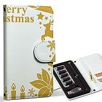 スマコレ ploom TECH プルームテック 専用 レザーケース 手帳型 タバコ ケース カバー 合皮 ケース カバー 収納 プルームケース デザイン 革 クリスマス ゴールド リボン 009436