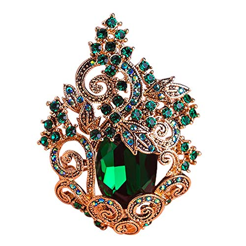 XZROOKEI Broches de Cristal de Pavo Real Grandes Verdes Retr