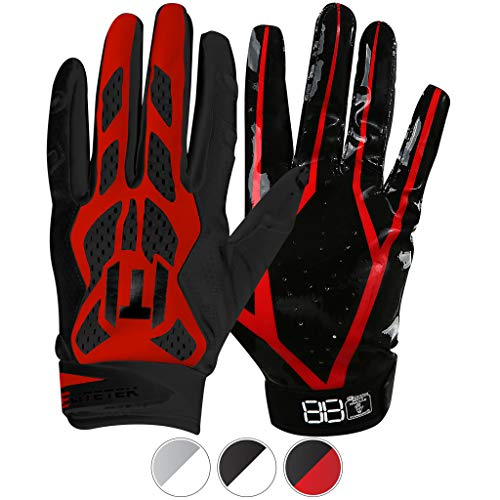 EliteTek E-17 Football Gloves Youth & Adult (Red, Youth XS)