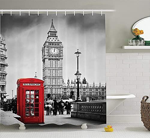 La Famosa Cabina telefónica de Londres Cortina de Ducha El Big Ben de Street View en Inglaterra simboliza la Cortina de Ducha Retro Town Serie temática Minimalista Accesorios de baño Set 180 × 180cm