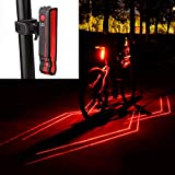RUBY-Q Bike Tail Light, USB Rechargeable Bicycle Rear Light, 5 LED 2 Laser Light 6 Light Modes Ultra Bright Waterproof Cycling Projector Safety Warning Lamp Fits On Any Road Bikes (1 Pack)