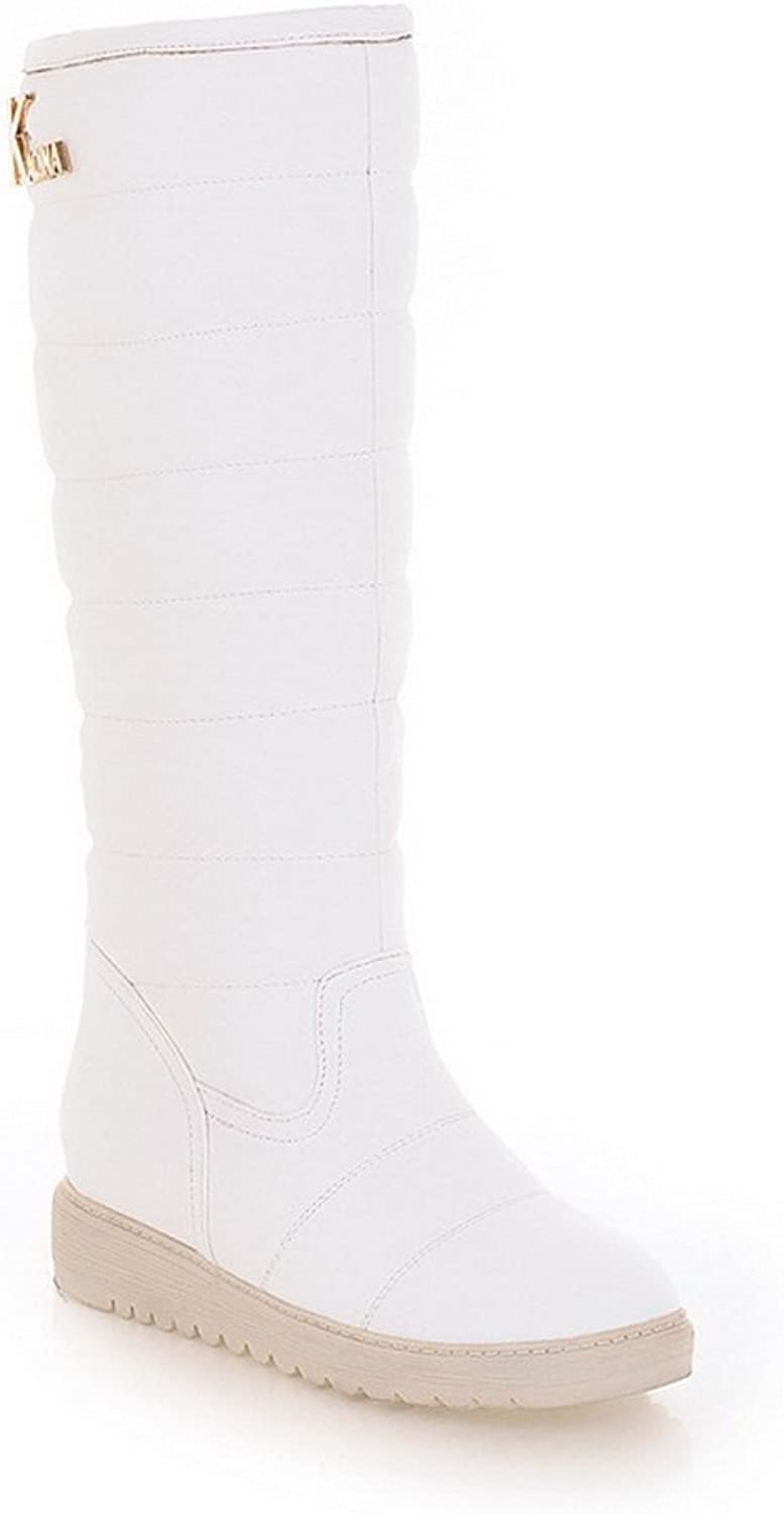 WeiPoot Women's Solid Round Closed Toe Soft Material PU High-Top Boots, White, 39