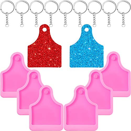 6 Pieces Pet Tag Silicone Mold Cow Dog Pet Keychain Mold Ice Cream Cupcake Topper Fondant Mold with Hole and 10 Pieces Key Rings with Chain for DIY Baking Crafting Cake Topper Decoration, Pink