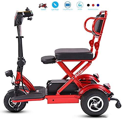 Yuiop Mini Silla de Ruedas eléctrica para Personas Mayores con discapacidades Triciclo eléctrico doméstico Motor de accionamiento diferencial Doble Scooter Batería de Litio LED Iluminado,Rojo,20~25km
