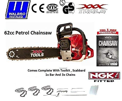 """An image of the New 2019 62CC Petrol Chainsaw 24"""" BAR 3 Chains WALBRO CARB NGK Scabbard Tool KIT"""