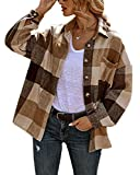 chouyatou Women's Oversized Casual Button Down Plaid Shirt Jacket Flannel Shacket (Large, Brown)