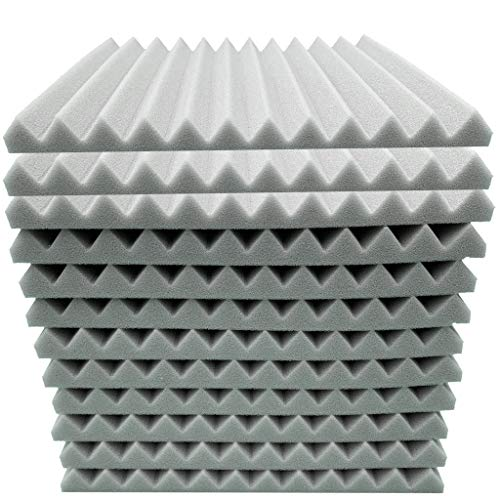 12 PCS Akustik Schaum Panel Sound Stop Absorption Schwamm Super Stumm Schalldicht Wandaufkleber, Schallschutzmatte Schallschutzschwamm für Studio KTV Heimkino Instrumentenräume, 30x30x2.5cm (Grau)