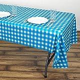 Efavormart Buffalo Plaid Tablecloth | 54' x 108' White/Serenity Blue Rectangular Spill Proof Tablecloths | Disposable Checkered Vinyl Waterproof Tablecloths