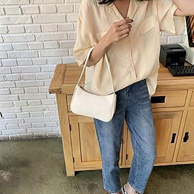 XIAOYANG US Retro Unterarmtasche Klassische Clutch Damen Schleife Handtasche Reißverschluss PU Leder Unterarmtasche