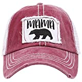 MIRMARU Women's Baseball Caps Distressed Vintage Patch Washed Cotton Low Profile Embroidered Mesh Snapback Trucker Hat (Mama Bear, Burgundy)