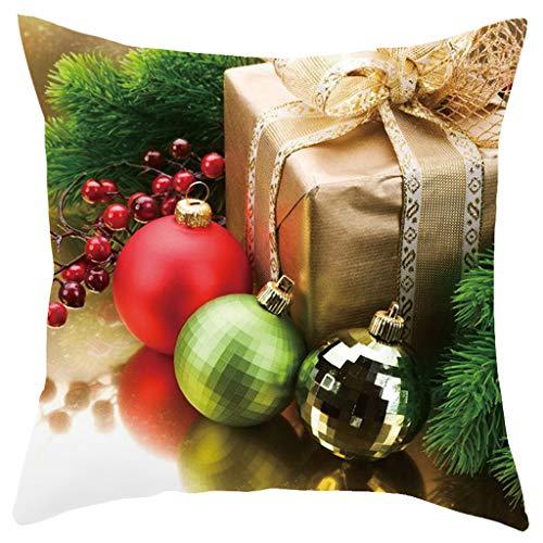 Dekorativ Kissenbezug,1 Stück Weihnachten Kissenbezug Dekokissen Haus Dekoration,Platz Dekorative Setzen Fall Zierkissen Kissenhülle Weihnachtsdeko 45x45cm (B)