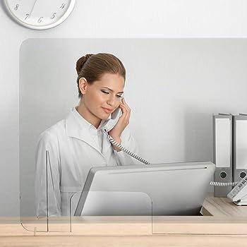 Mampara Protección Anticontagio   Mampara de Metacrilato 4mm   Mampara con Patas de Soporte   Modelo Alpha (90 x 65 cm): Amazon.es: Oficina y papelería