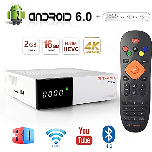 GT MEDIA GTC Free to air Satellite TV Receivers 4K Android 6.0 TV Box decodificador satelital FTA DVB-S2/T2/Cable/ATSC-C/ISDBT Wifi 2.4Ghz BT4.0 3D H.265 MPEG-2/4 Smart TV Box