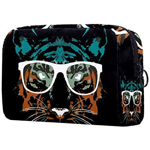 AITAI Bolsa de maquillaje grande bolsa de viaje organizador cosmético moda Hipster Tiger con gafas
