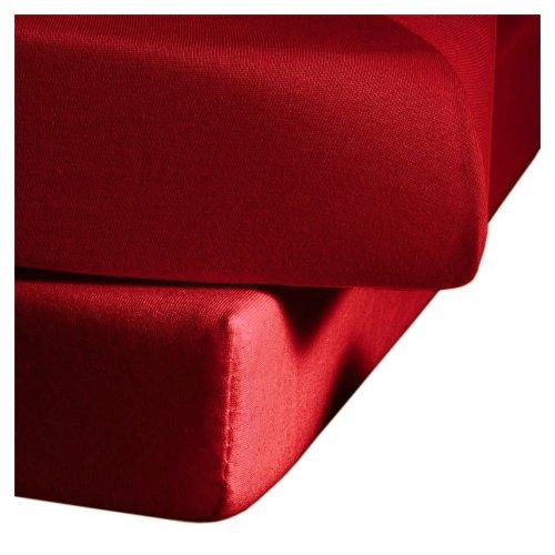 fleuresse Jenny C klassisches Jersey-Spannlaken, 100% Baumwolle, mit praktischem Rundumgummi, Fb. Bordeaux-Rot, Größe 100 x 200 cm, auch passend für 90 x 190/200
