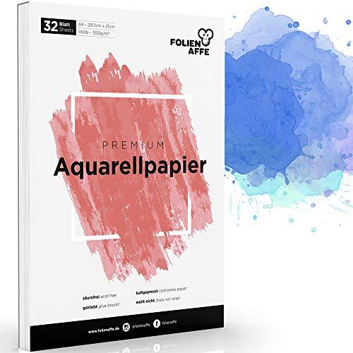 A4 Aquarellpapier [300g] - Aquarellblock mit 32 Blatt - Malblock für Kinder & Erwachsene - hochwertiger Zeichenblock für Aquarell, Zeichnen & Malen - Watercolor Paper, weiß & geleimt