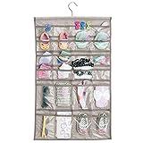 mDesign – Organizador de Tela para Colgar Colocar articulos de bebés – El Organizador de armarios 48 Compartimentos – Color: Lino