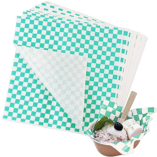 Hslife 100 Sheets Green and White Checkered Dry Waxed Deli Paper Sheets, Paper Liners for Plastic Food Basket, Wrapping Bread and Sandwiches(11''x11.6'')