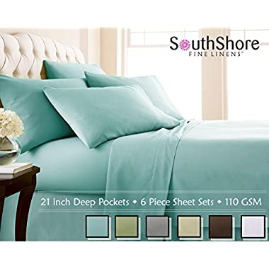 Southshore Fine Linens 6 Piece - Extra Deep Pocket Sheet Set - SKY BLUE - Full