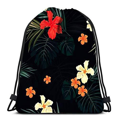 GeorgoaKunk Mochila Mochila con cordón Verano Colorido Hawaiano con Plantas Tropicales y Flores de Hibisco Deportes Viajes Yoga Gymsack