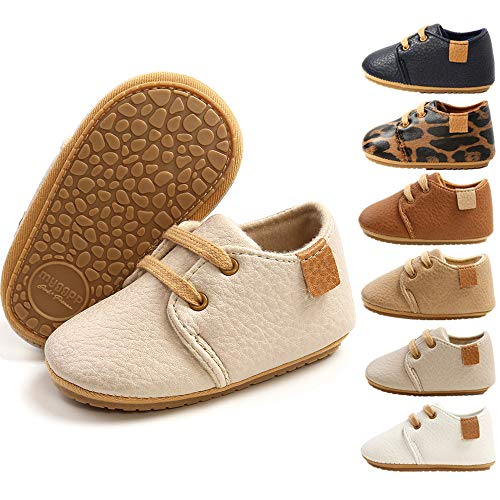HsdsBebeBabyBoysGirlsOxfordShoesPULeatherSoftRubberSoleSneakersAnti-SlipToddlerAnkleBootsInfantWalkingShoes Moccasins(M1976 Apricot,1)