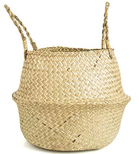 N/B Seegras Korb Geflochten Körbe 27x 23 cm Wäschekorb Faltbar Blumenkorb mit Griff Handgewebt Fischkorb Übertopf Korb für Pflanzentöpfe Picknick oder Einkaufskorb(1Pcs)