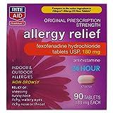 Rite Aid Allergy Relief Fexofenadine Hydrochloride, 180mg - 90 Tablets | Original Prescription Strength | Non-Drowsy Allergy Medicine | 24 Hour Relief
