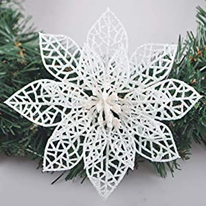 Turelfies 12 Pcs 5.9''(15cm) Christmas Tree Flowers with 12 Pcs Green Soft Stings Glitter Poinsettia Artificial Flowers Decorative Wreath Tree Ornaments (White)