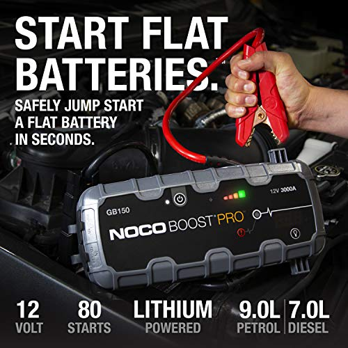 NOCO Boost Pro GB150 4000 Amp 12-Volt UltraSafe Portable Lithium Jump Starter, Car Battery Booster Pack, And Jump Leads…