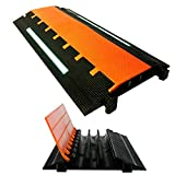 Elasco MG3200-GLOW Mighty Guard Interlocking Cable Ramp Floor Cord Cover Drive Over Wire Protector, Heavy Duty, Three 2' Channels, 16500 lb. per Tire Load Capacity, 37' x 16.5' x 2.5' with Glow Strip