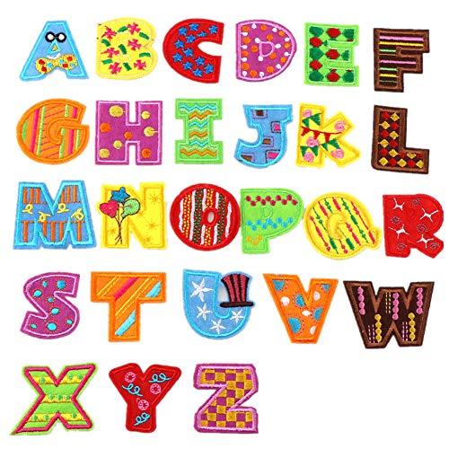 Aufbügelapplikationen, Buchstaben A-Z, 26 Stück, Tierform, zum Aufbügeln oder Aufnähen, Applikationen für Jeans, Jacken, Rucksäcke, Stil 8, 4 cm