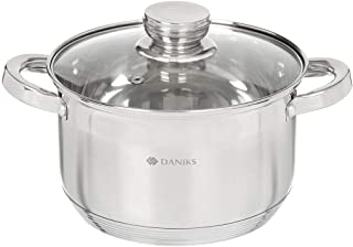 Daniks Standard Marmite INOX (4 L, Ø 20 cm) + Couvercle en Verre Tous Feux Dont Induction